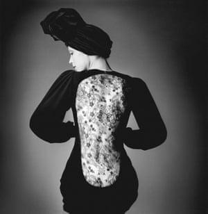 Marina Schiano wearing the short evening dress.