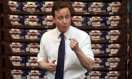 David Cameron talks to workers at the Warburton's bread factory in 2010