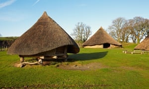 Replica roundhouses at Castell Henllys in Pembrokeshire