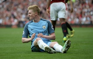 Manchester City's Kevin De Bruyne reacts after going so close to scoring City's third.