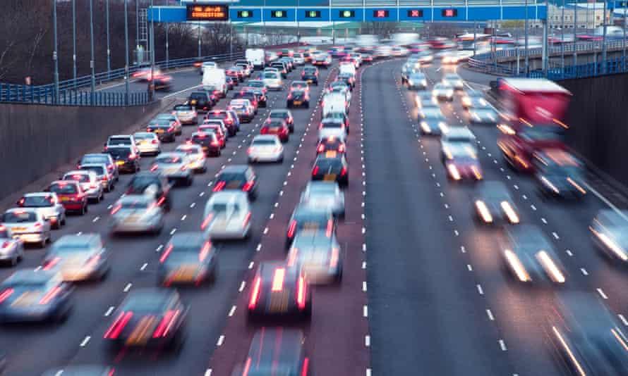 Rush hour on A38(M) urban motorway at Aston, Birmingham