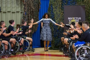 First lady Michelle Obama greets wounded American veterans