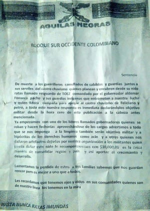 One of the pamphlets circulated last year by paramilitary groups - in this case, the Aguilas Negras - in and around Buenavista.