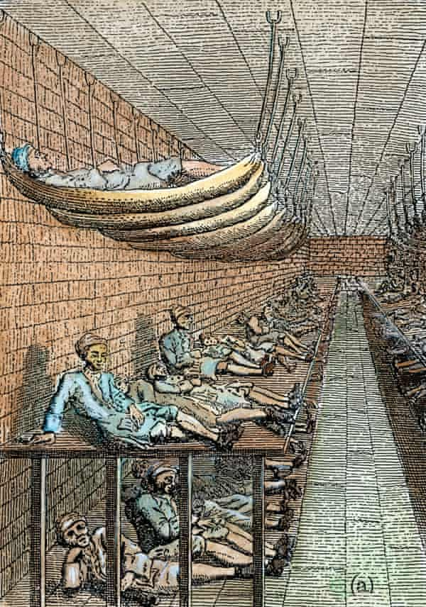 An 18th-century engraving of the sick ward in Marshalsea prison.