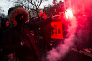 General strike in Parisepa05202429 A protester burns a flare as hundreds of students leave Place de la Nation to join a demontration on the Place de la Republique in Paris, France, 09 March 2016. Public services, traffic and transport was heavily disturbed on 09 March 2016 as a general strike was called countrywide against a draft of the French government on new labor laws. EPA/ETIENNE LAURENT