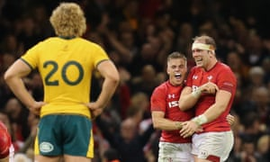 Gareth Anscombe and Alun Wyn Jones (right) celebrate Wales' win over Australia.