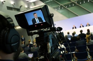 ECB President Draghi addressing today's news conference.