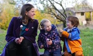 Jo Swinson on a visit to a nursery in Midsomer Norton, Somerset, on Thursday