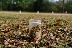 A glass jar filled with an 'odor sample' – in this case a rag soaked in bodily fluid – that Lisa Higgins uses in training courses for the Louisiana Search and Rescue Dog Team.