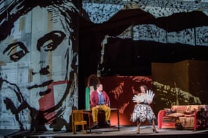 Director William Kentridge's design looms over Nicky Spence (Alwa) and Brenda Rae (Lulu).