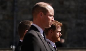 The Duke of Cambridge and Duke of Sussex walking in the procession at Windsor Castle