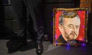 A painting of Jeremy Corbyn decorated with fairy lights at the Labour conference.