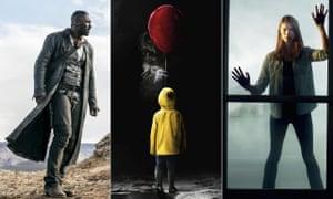 The latest Stephen King adaptations: Idris Elba in Dark Tower, Bill Skarsgård in It and Alyssa Sutherland in The Mist.