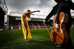 Eve Mutso performs ballet at Tynecastle to promote the festival this year.