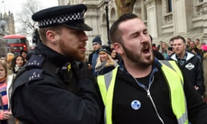 James Goddard pictured at a central London protest on 5 Janaury