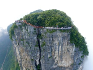 Aerial view of the 100m-long glass skywalk on the cliff on Tianmen Mountain.