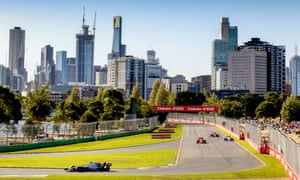 Practice gets under way at Albert Park, with the striking Melbourne skyline in the distance.