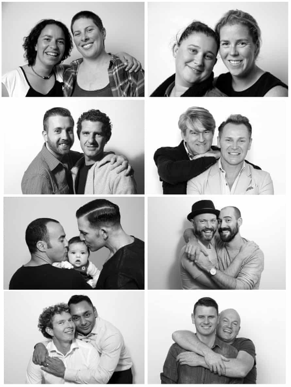 A composite image of Australian same-sex couples.