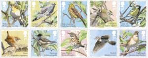Royal Mail songbird stamps, issued to mark International Dawn Chorus Day on 7 May