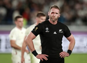 New Zealand captain Kieran Read looks shell-shocked after the world champions' semi-final defeat by England at Yokohama International Stadium.