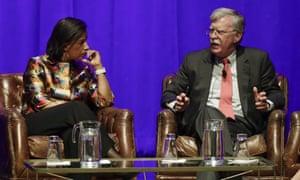John Bolton with Susan Rice at the event at Vanderbilt University on Wednesday night.