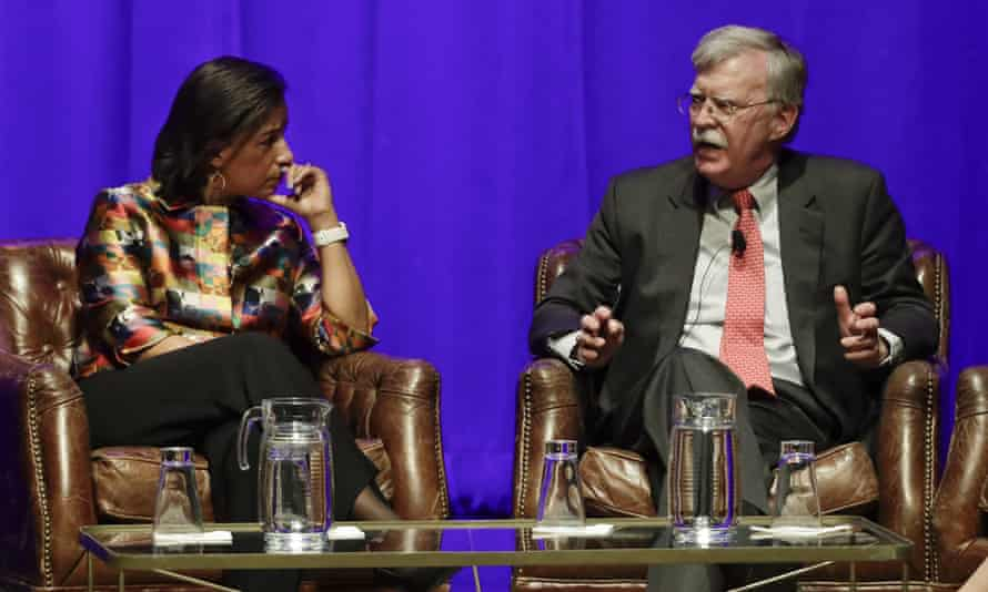 Susan Rice and John Bolton take part in a discussion on global leadership at Vanderbilt University, 19 February 2020 in Nashville.