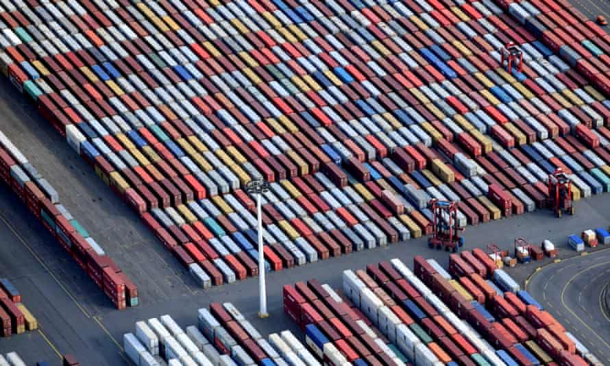 Shipping containers at the port of Hamburg, which has a large volume of trade with the UK, and is preparing for a no-deal Brexit.