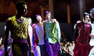 Catwalk models for the Comme des Garçons men's fashion week spring/summer 2018 collection in Paris.