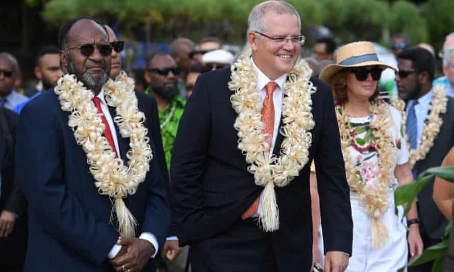 The Australian prime minister, Scott Morrison, and Vanuatu's prime minister, Charlot Salwai Tabimasmas