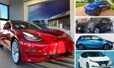 Tesla Model 3, Jaguar I-Pace, Kia e-Niro, Renault Zoe and Nissan Leaf