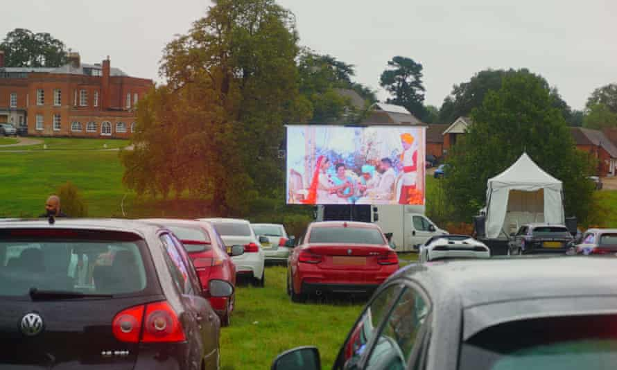 Another 300 guests from all over the world also watched the live footage of the couple saying their vows at Braxted Park, a country house in Chelmsford, Essex, via a video link.