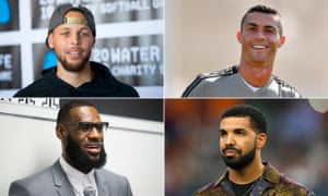 Small screen, big dream … clockwise, Steph Curry, Cristiano Ronaldo, Drake and LeBron James.