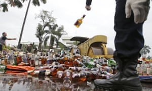 Illegal whisky is crushed