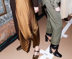 Silk asymmetric pleated dress