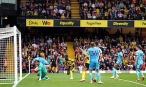 Watford's Ismaila Sarr scores their equaliser.