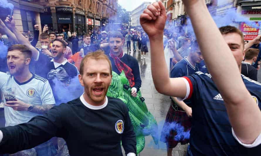 Scotland fans in London's West End before the game with England.