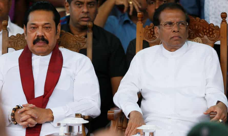 Sri Lanka's newly appointed prime minister, Mahinda Rajapakse, with President Maithripala Sirisena.
