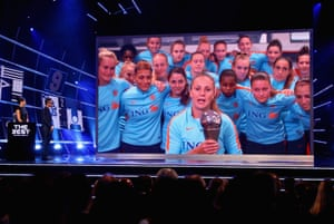 Lieke Martens accepts the the best women's player award.