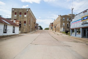 Quiet streets on a Saturday afternoon in Onaga, Kansas, population 700.