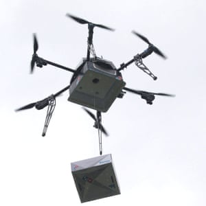 A delivery drone performs a test flight with a pizza box in Auckland, New Zealand last year.