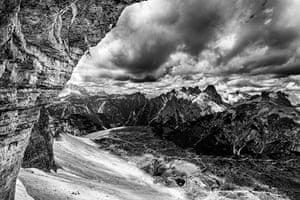 Honourable mention: Piotrek DeskaTre Cime di Lavaredo, Italy  Łukasz Dudek prepares for his solo ascent of Pan Aroma 8c on Cima Ovest di Lavaredo, Tre Cime di Lavaredo, Dolomites