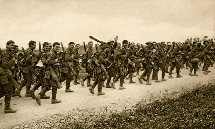 World War 1: East Yorkshire Regiment going to the trenches.