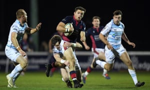 London Scottish on the attack against Bedford Blues last month. Both clubs will be seriously affected by the RFU's funding cut to Championship clubs.