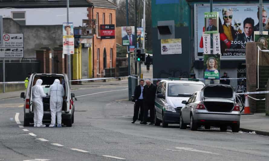 Gardaí at the scene of the murder of Eddie Hutch in Dublin.