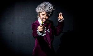 Ten year old Tyzer McAllister dressed as Jon Pertwee's Doctor Who