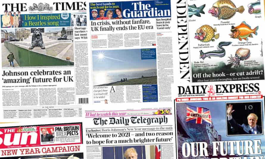 Front pages of the UK papers on 1 January 2021 as the Brexit transition period ends.