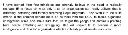 A paragraph from Amber Rudd's letter to Theresa May