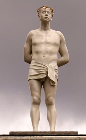 Ecce Homo  (1999), a contemporary life-size figure of a shaven headed and beardless Christ by Mark Wallinger