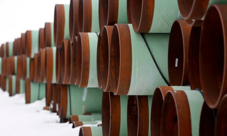 Pipes stored for the Keystone XL oil pipeline in North Dakota, US