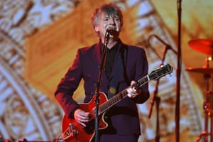 Neil Finn performs Distant Sun after Crowded House are inducted into the Aria Hall of Fame on Wednesday night.